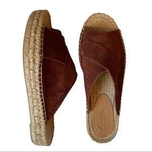NEW Garnet Hill Brown Suede Espadrille Sandals